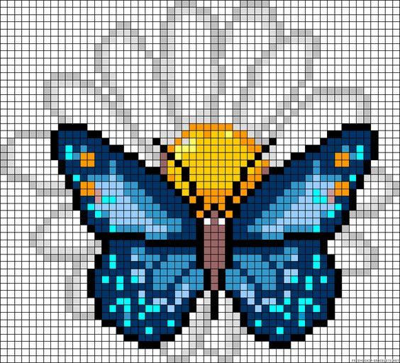 рисунки по клеточкам бабочка